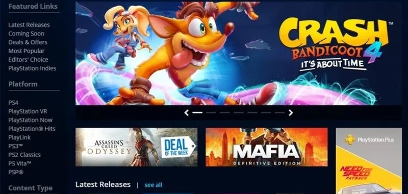 The classic PlayStation Store has opened.  Players can purchase PS3, PS Vita, and PSP games through the browser