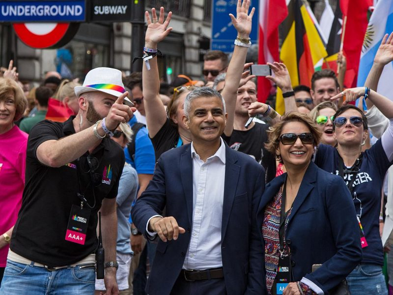 Sadiq Khan (center) during the London Equality Parade, source: Flickr, photo: Chris Beckett (CC BY-NC-ND 2.0)