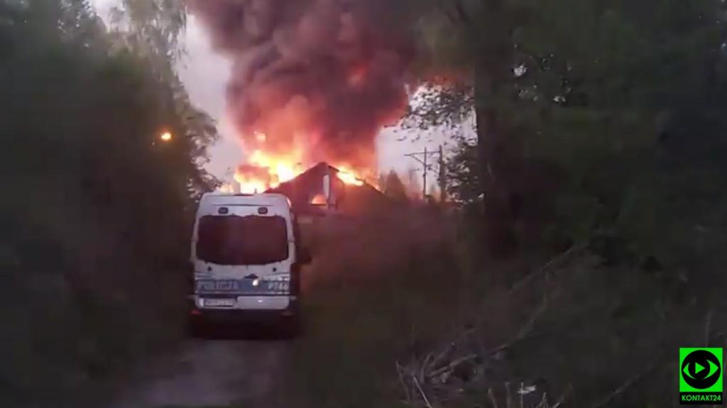 Peelsco-Piala.  Fire at the depot.  Firefighters fight the fire